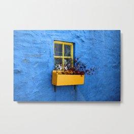 FLOWER - BOX - YELLOW - BLUE - WALL - PHOTOGRAPHY Metal Print