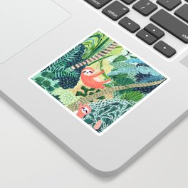 Jungle Sloth Family Sticker