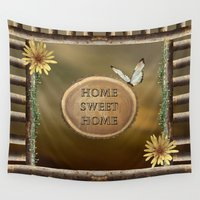 home sweet home Wall Tapestries featuring Home Sweet Home by LLL Creations