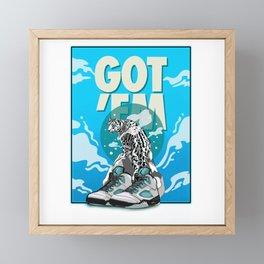Got'EM Jordan 5 Retro Island Green illustration Framed Mini Art Print