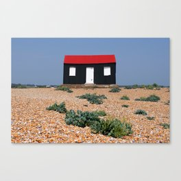 Beach Hut with a Red Roof Canvas Print