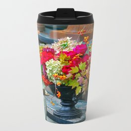 Fall Floral Arrangement Metal Travel Mug