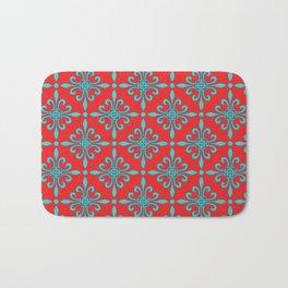 Fleur de Lis - Red & Turquoise Bath Mat