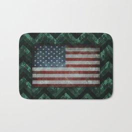 Viridian Green Digital Camo Chevrons with American Flag Bath Mat