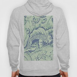 Carp in blue and soft green Hoody