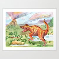 t rex Art Prints featuring T-Rex by Catherine Holcombe