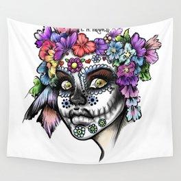 Sugar Skull Girl Wall Tapestry