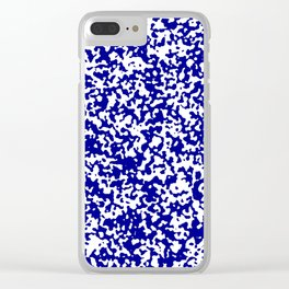Small Spots - White and Dark Blue Clear iPhone Case