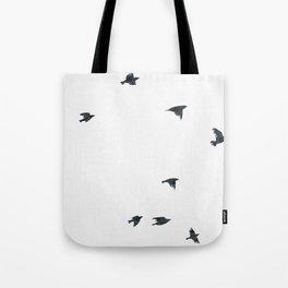 Ravens Birds in Black and White Tote Bag