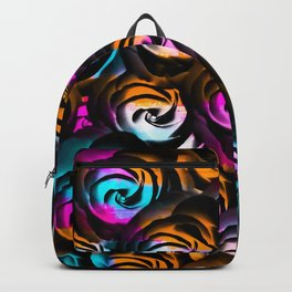 black rose texture abstract with painting abstract in orange pink blue Backpack