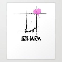 Love Indiana State Sketch  USA Black Art  Design Art Print