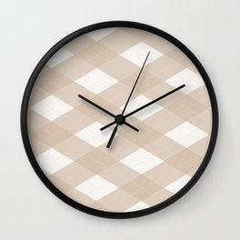 Pantone Hazelnut, Tan Argyle Plaid, Diamond Pattern Wall Clock