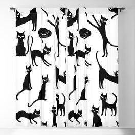 Black cats, seamless patten Blackout Curtain