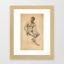 Seated male nude, looking to the left by Gustav Klimt Framed Art Print