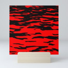 Black red abstract wave Mini Art Print