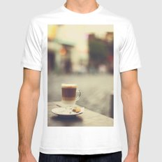 Cappuccino MEDIUM White Mens Fitted Tee