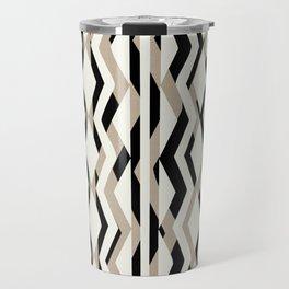 Abstract Cream Brown Black Geometric Pattern Travel Mug