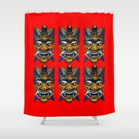 chinese Shower Curtains featuring Chinese Masks by Ron Trickett