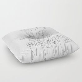 Poppy Flowers Line Art Floor Pillow