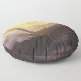 Sunset over the clouds Floor Pillow