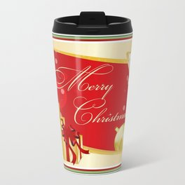 Merry Christmas Greeting With Gifts Bows And Ornaments Travel Mug