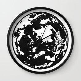 Full Moon black and white lino print Wall Clock