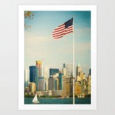 The flag and the city. Ellis Island, New York. Art Print