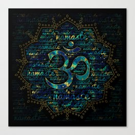 Namaste Word Art in Lotus with OM symbol Canvas Print