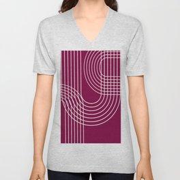 Minimalist Lines & Red BG Unisex V-Neck