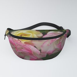 3 Multi Color Roses Rosebuds in Full Bloom Pink and Yellow White Fanny Pack