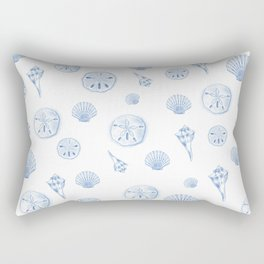 Beach Shells Drawing - Blue Pattern Rectangular Pillow