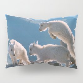 Kids - Mountain Goats with Rocky Mountains View  Pillow Sham