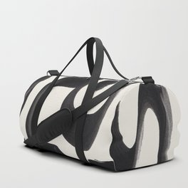 Mid Century Modern Minimalist Abstract Art Brush Strokes Black & White Ink Art Arabic Letters Duffle Bag