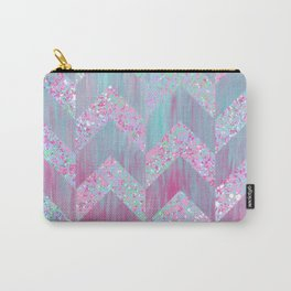 Geometrical pink teal watercolor splatters brushstrokes chevron Carry-All Pouch