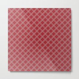 Christmas Cranberry Red Jelly Diagonal Tartan Plaid Check Metal Print
