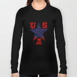 USA Flag Star Symbol Long Sleeve T-shirt