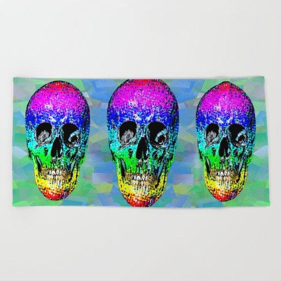 Skull disco rainbow Beach Towel