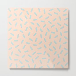 Memphis Bacteria Pattern Pastel Colors Peach Baby Blue Metal Print
