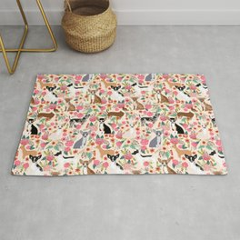 Chihuahua florals cute pastel dog breed must have gifts for small dog owner dog person pet portraits Rug