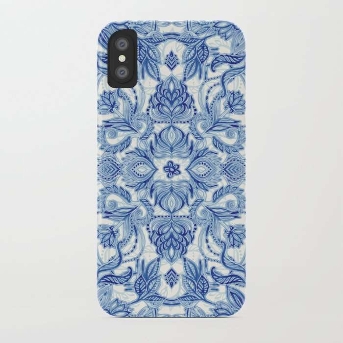 Pattern in Denim Blues on White iPhone Case