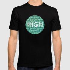 HIGH TYPO! Cannabis / Hemp / 420 / Marijuana  - Pattern SMALL Black Mens Fitted Tee