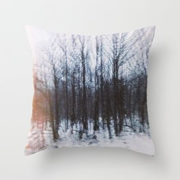 Altered Drive-By Forest Throw Pillow