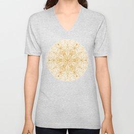 Sepia Snowflake Doodle Unisex V-Neck