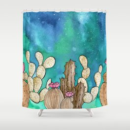 Galaxy Cacti watercolor painting Shower Curtain