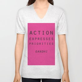 Action Gandhi Quote Unisex V-Neck