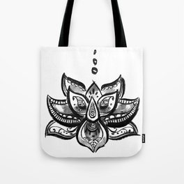 Lotus flower b/w Tote Bag