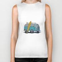 vw bus Biker Tanks featuring VW Bus by AshyGough
