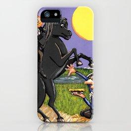 Head-less Horseman & IchabodCrane Exchanging Pumpkin For Pie Under Harvest Moon iPhone Case