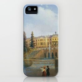View of the Big Cascade in Petergof and the Great Palace of Petergof by Ivan Aivazovsk iPhone Case