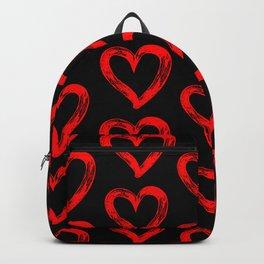 Red heart pattern 01 black Backpack
